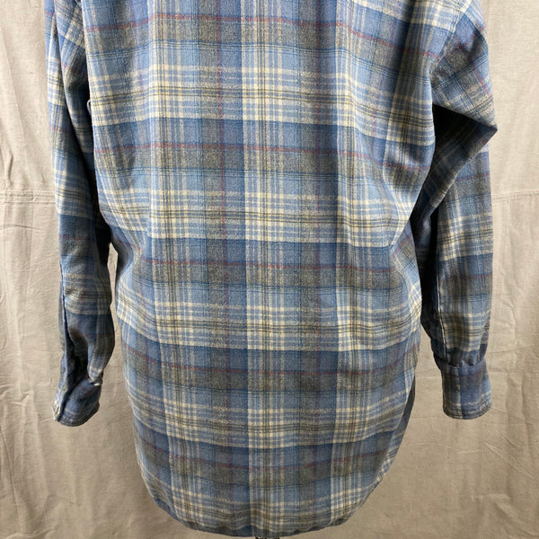 Lower Rear View of Vintage Pendleton Blue Plaid High Grade Western Wear Flannel Shirt SZ XL