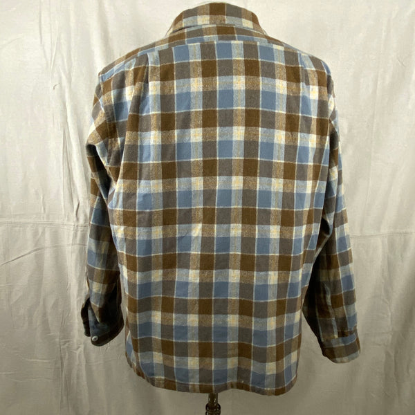 Rear View on Vintage Blue & Grey Pendleton Board Shirt SZ XL