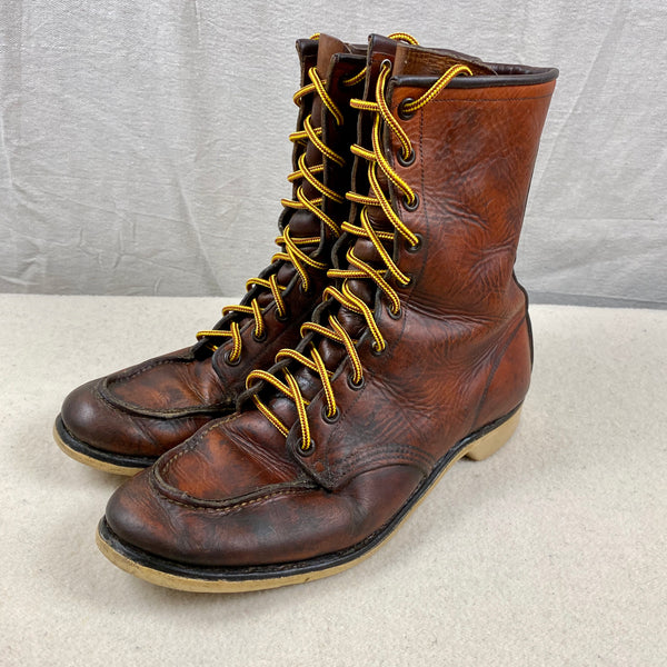 Left Angle View of Vintage 1950s Red Wing Moc Toe 877's Rare Size 9