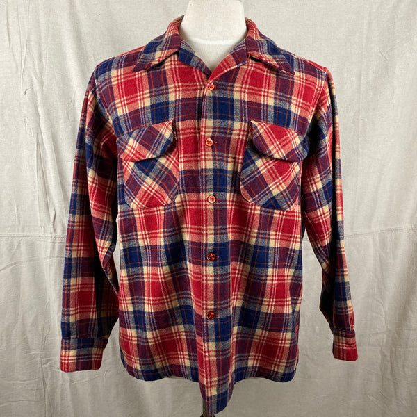 Front View on Vintage Red & Blue Pendleton Board Shirt SZ L
