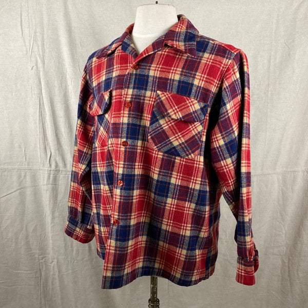 Left Angle View on Vintage Red & Blue Pendleton Board Shirt SZ L