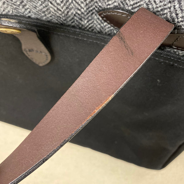 Small Abrasion on Inside of Leather Handle on Filson Harris Tweed Original Black Rugged Twill Wool Briefcase Style 70066