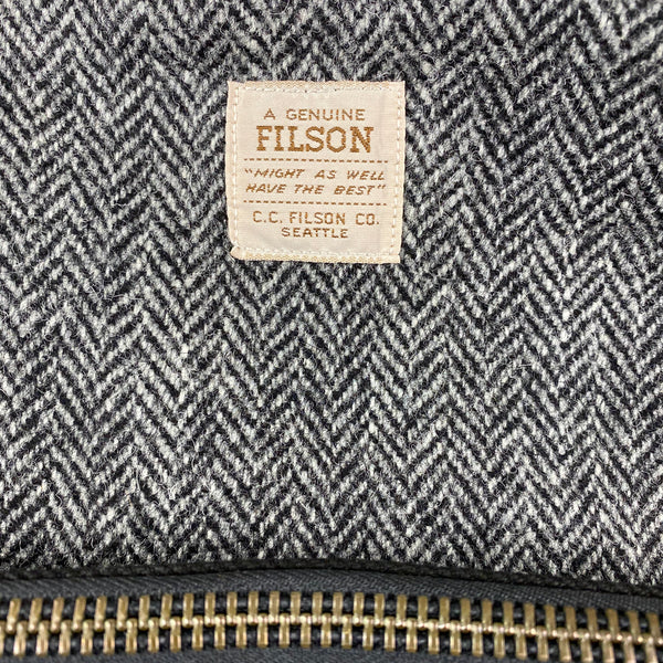 Filson Tag on Filson Harris Tweed Original Black Rugged Twill Wool Briefcase Style 70066