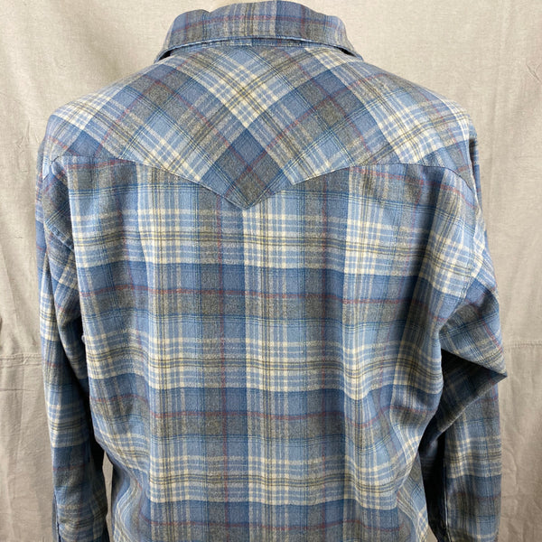 Upper Rear View of Vintage Pendleton Blue Plaid High Grade Western Wear Flannel Shirt SZ XL