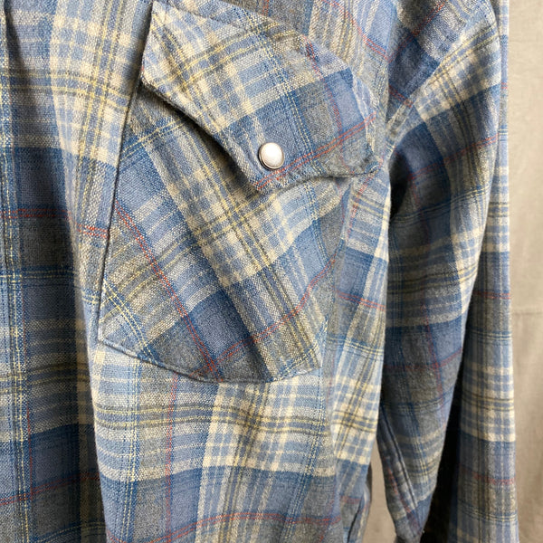 Pearl Snap Pocket on Vintage Pendleton Blue Plaid High Grade Western Wear Flannel Shirt SZ XL