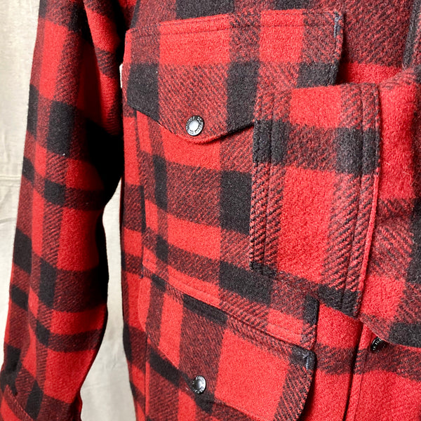 Left Cuff View on Vintage Union Made Filson Red and Black Buffalo Plaid Mackinaw Cruiser