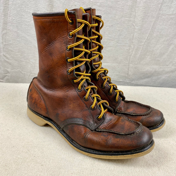 Right Side View of Vintage 1950s Red Wing Moc Toe 877's Rare Size 9