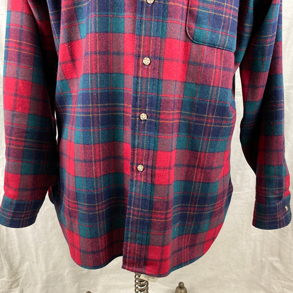 Lower Front View of Vintage Red Blue & Green Pendleton Lodge Shirt SZ L