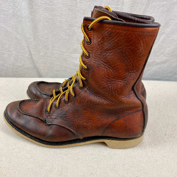 Left Side View of Vintage 1950s Red Wing Moc Toe 877's Rare Size 9