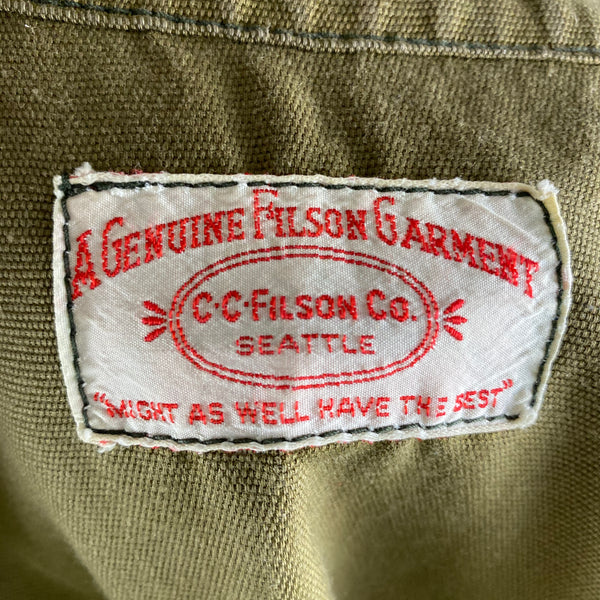 Tag View of Vintage Filson Dry Finish Tin Cloth Cruiser