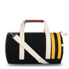 Medium Canvas Duffel Bag- Black+Yellow/Tan