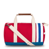 Medium Canvas Duffel Bag- Red+Royal/Tan