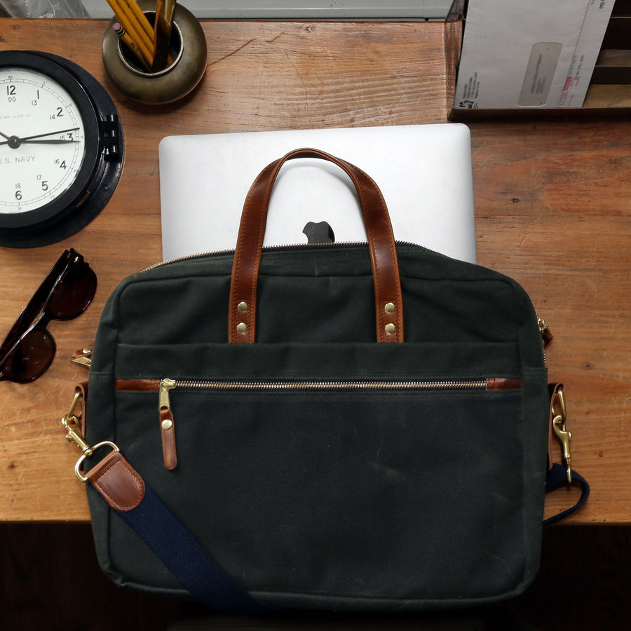 Waxed Canvas and Leather Laptop Bag - Hunter Green/Whiskey Brown