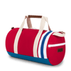 Medium Canvas Duffel Bag- Red/Royal/Tan