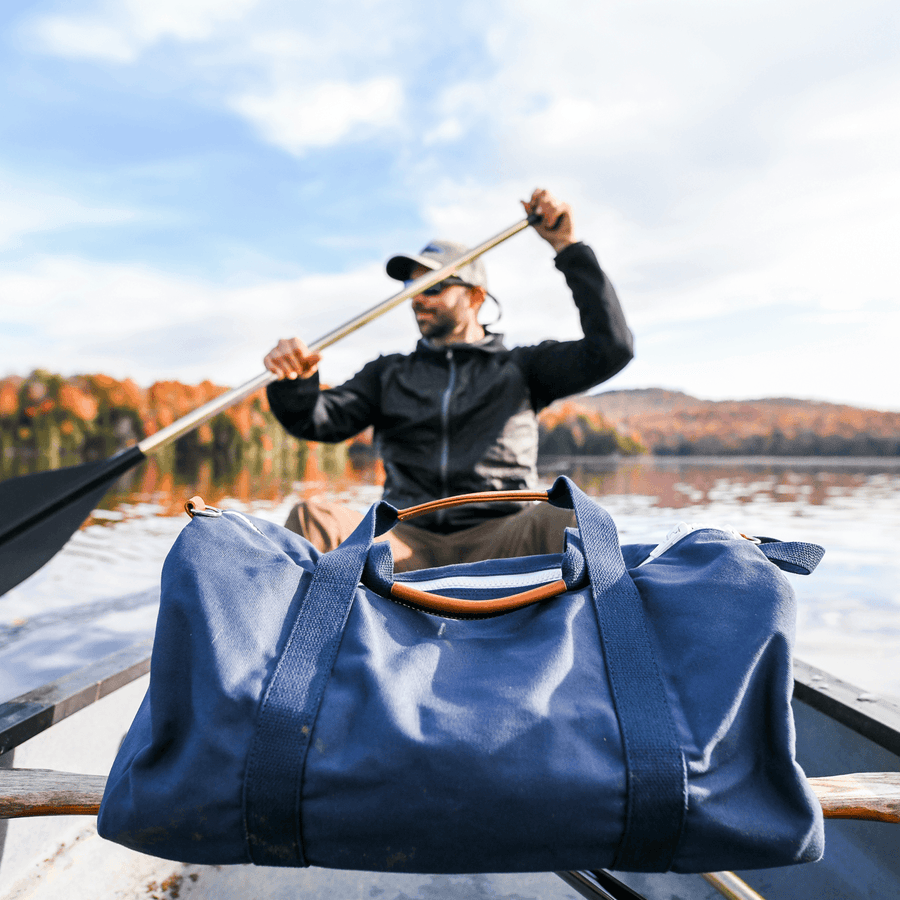 Large Canvas Duffel Bag- Navy/Navy
