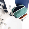 Canvas Toiletry Bag- Hunter Green/Navy