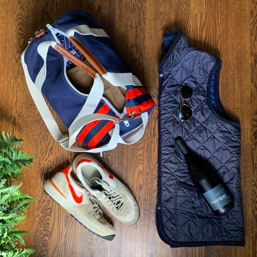 Medium Canvas Duffel Bag- Navy/Orange/Tan