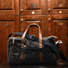 Medium Canvas and Leather Duffel Bag - Charcoal Grey/Whiskey Brown