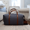Large Canvas and Leather Duffel Bag - Charcoal Grey/Whiskey Brown