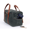 Medium Waxed Canvas Duffel Bags - Hunter Green/Whiskey Brown