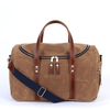Medium Waxed Canvas and Leather Duffel- Tan/Whiskey Brown