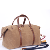 Large Waxed Canvas and Leather Duffel Bag - Tan/Whiskey Brown