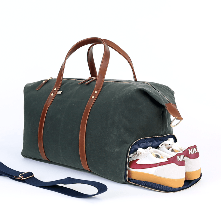 Heritage Weekender Duffel- Waxed Hunter Green