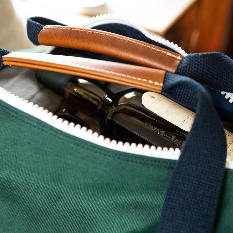 Medium Canvas Duffel Bag- Hunter Green/Navy