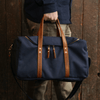 Medium Canvas and Leather Duffel Bag - Midnight Navy/Whiskey Brown