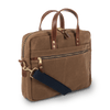 Waxed Canvas and Leather Laptop Bag - Tan/Whiskey Brown