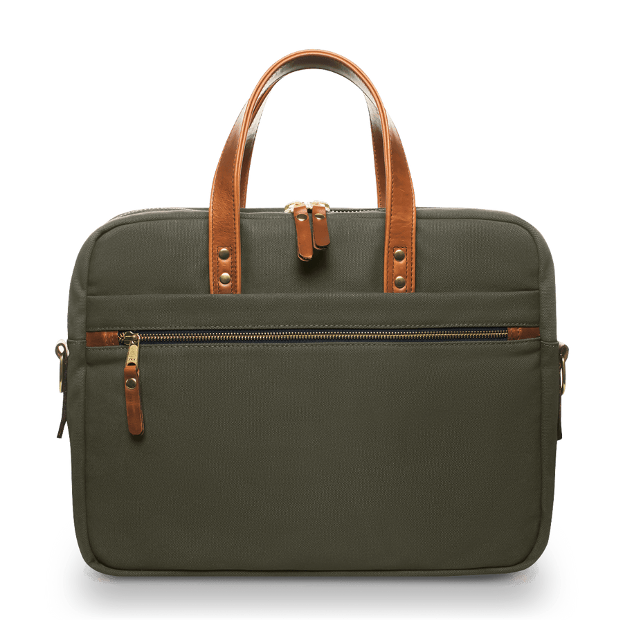 Canvas and Leather Laptop Bag - Olive Green/Whiskey Brown