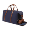 Large Canvas and Leather Duffel Bag- Midnight Navy/Whiskey Brown
