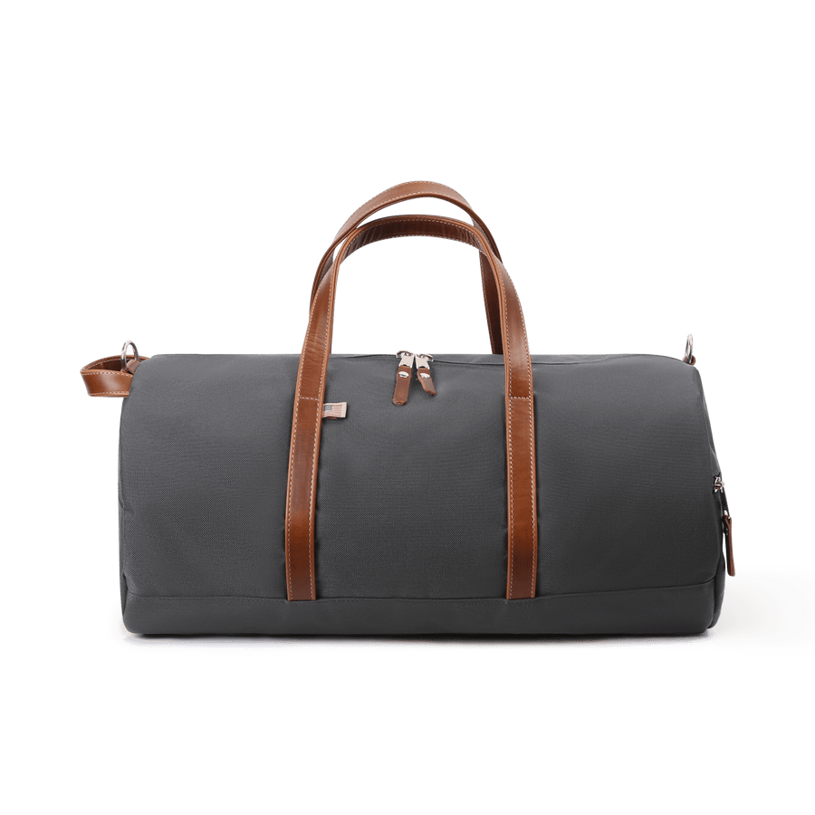 Medium Nylon and Leather Duffel - Charcoal Grey/Whiskey Brown