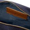 Canvas and Leather Toiletry Bag- Midnight Navy/Whiskey Brown