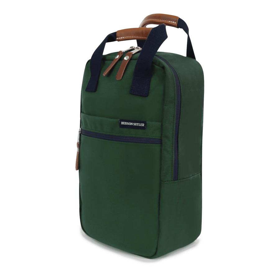Nylon and Leather Golf Shoe Bag- Hunter Green