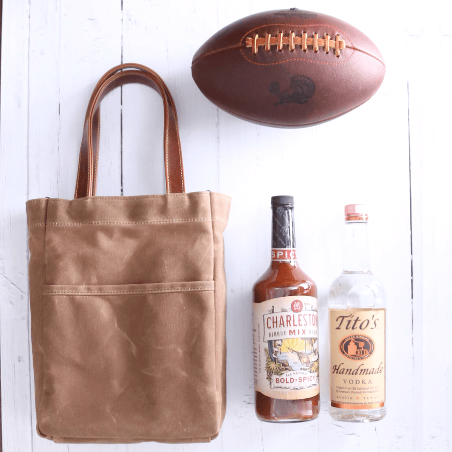Waxed Canvas and Leather Wine Tote - Tan/Whiskey Brown