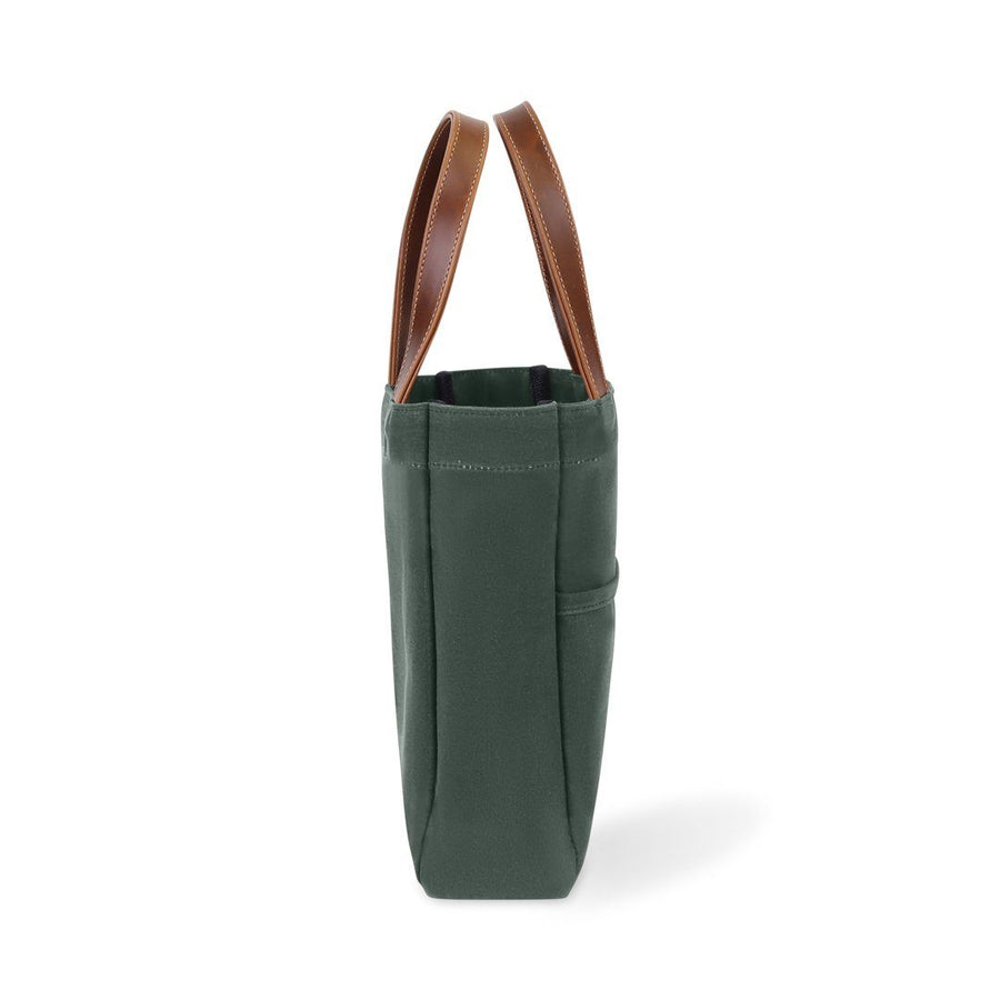 Waxed Canvas and Leather Wine Tote - Hunter Green/Whiskey Brown