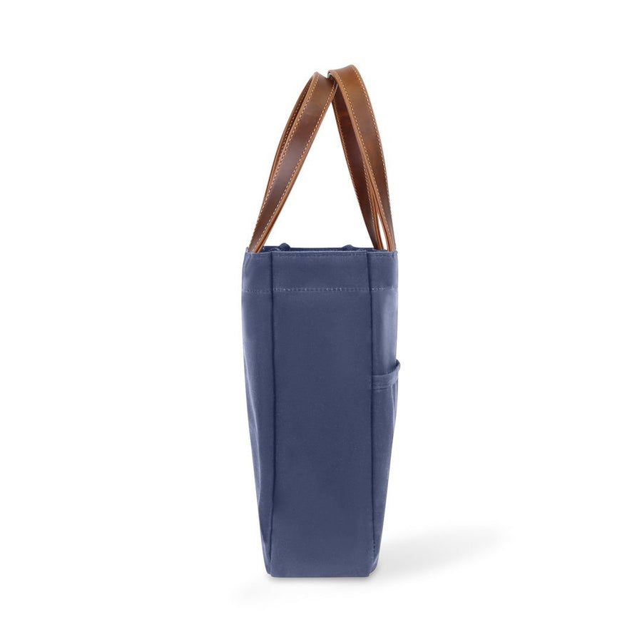 Waxed Canvas and Leather Wine Tote - Navy/Whiskey Brown