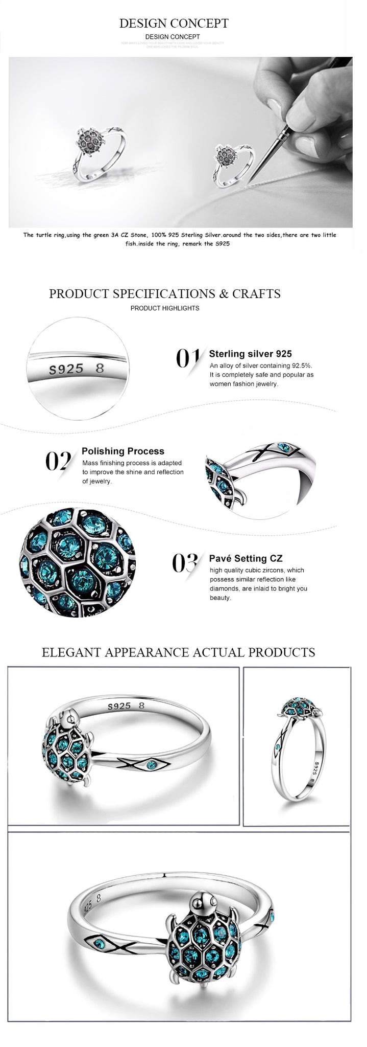 Description of the Crystal Turtle Ring with details