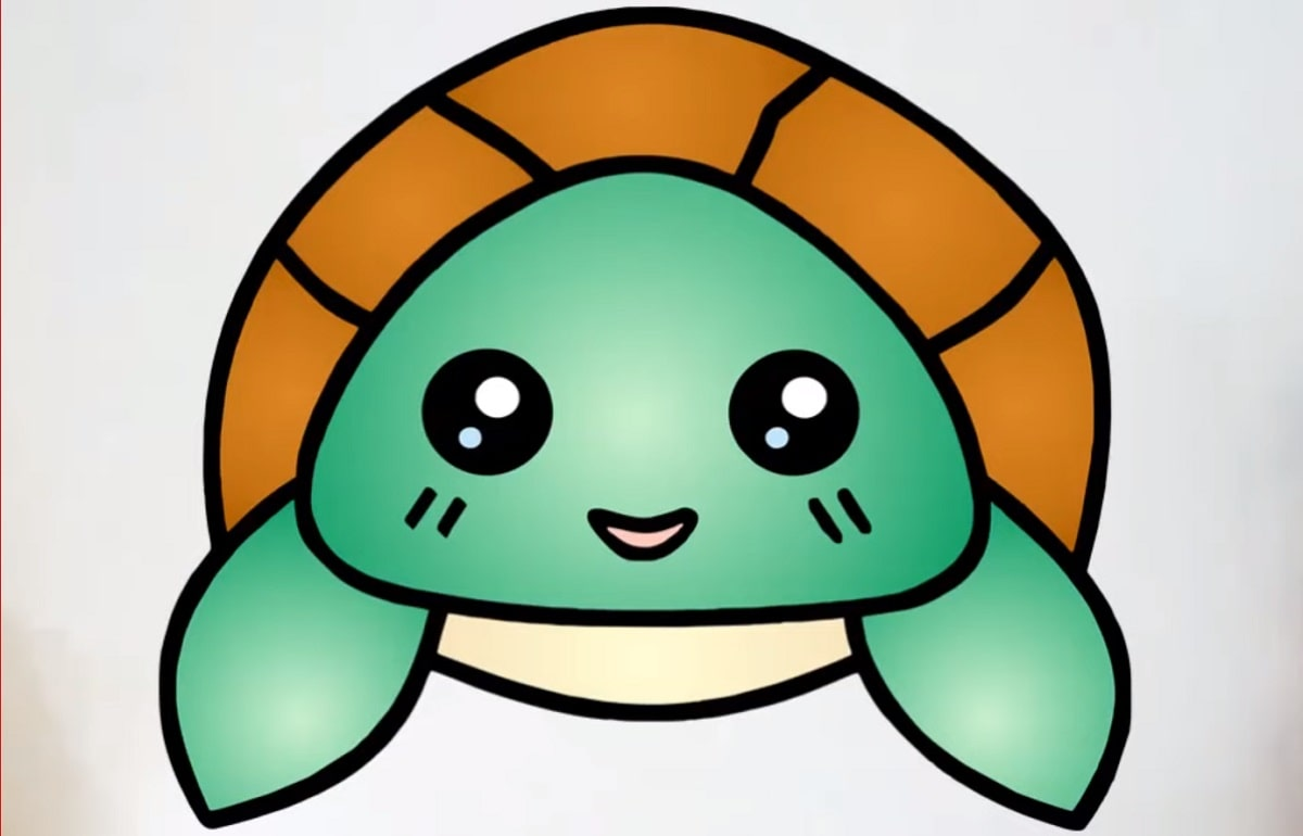 Final Step of how to draw a cute turtle