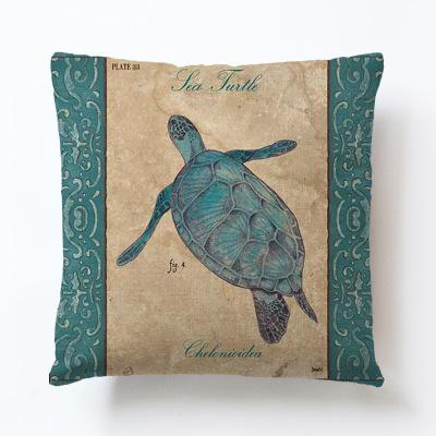 Sea Bars Turtle Pillow