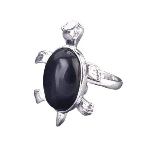 Black Agate Turtle Ring - Turtle Store