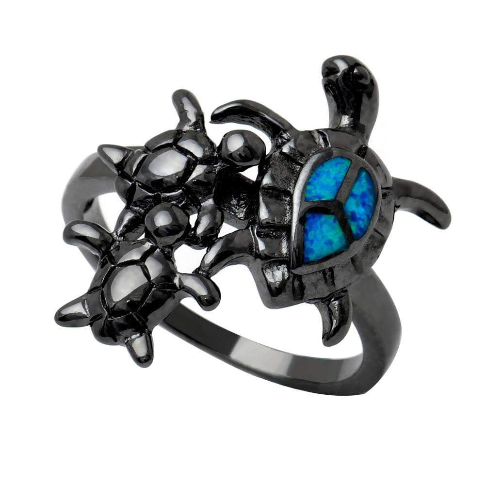 Black Opal Turtle Ring - Turtle Store