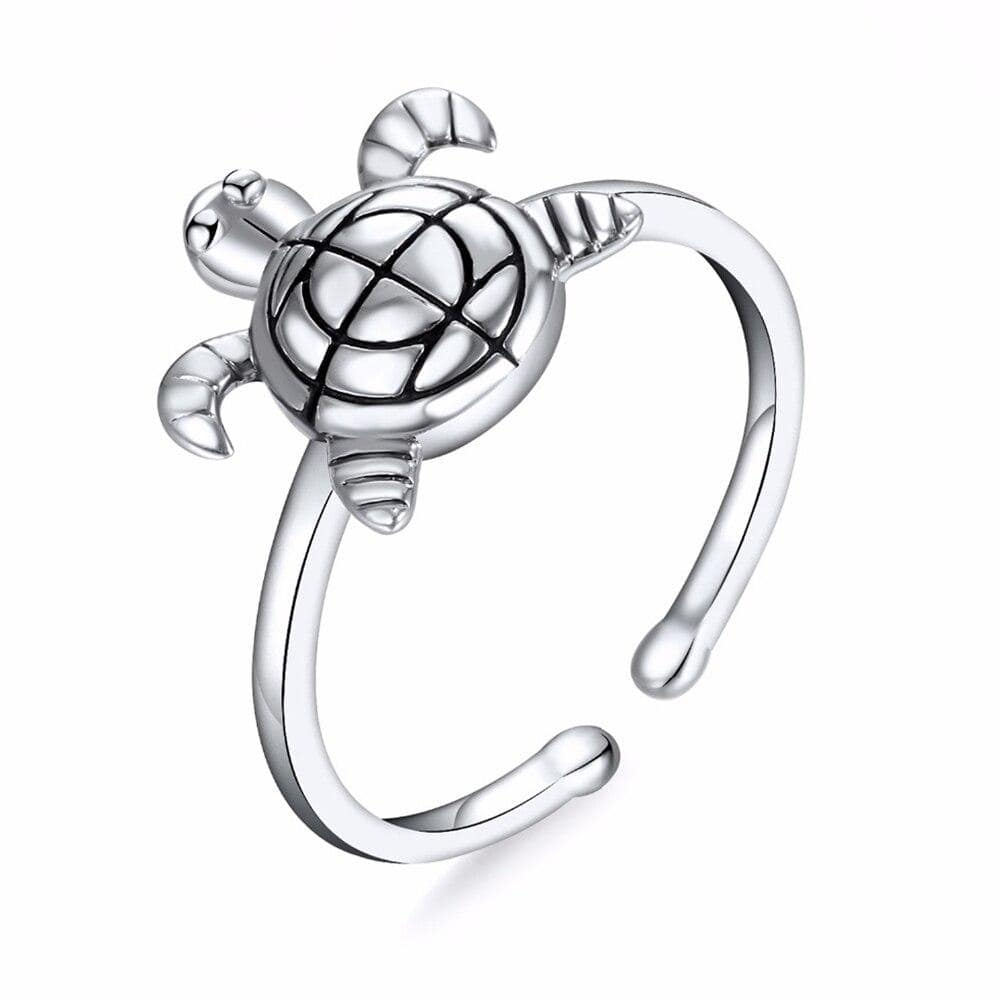Descreet Turtle Ring (Silver) - Turtle Store