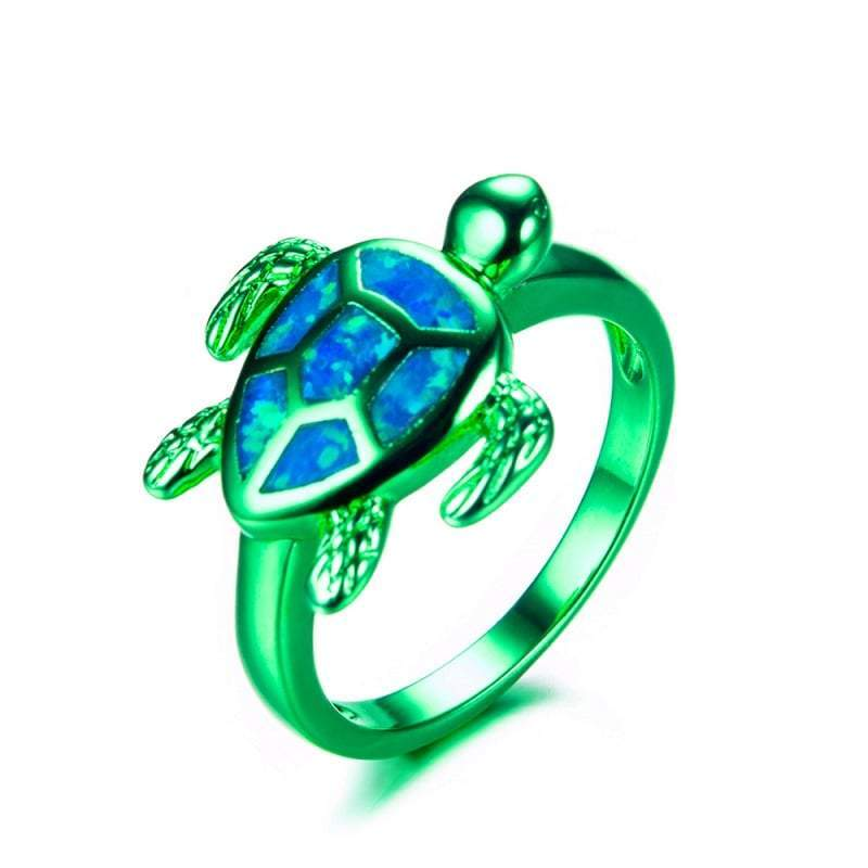 Green Opal Turtle Ring - Turtle Store