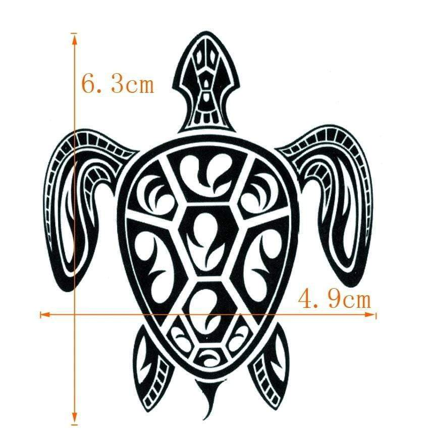 Turtle Temporary Tattoo size