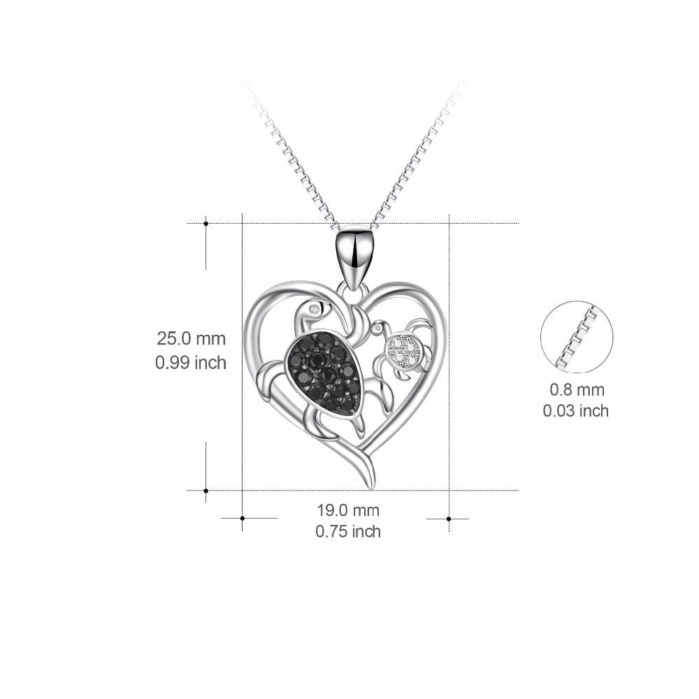 Silver Heart Turtle Necklace Size