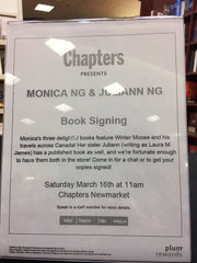 Chapters Newmarket sign at book event