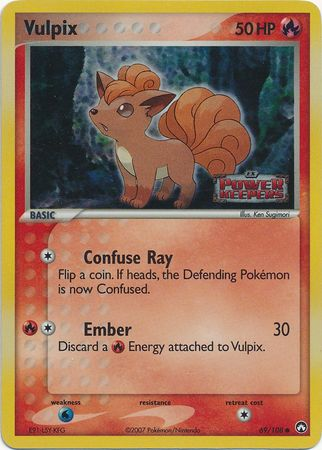 1x Vulpix - 69/108 - Common Reverse Holo - Ex Power Keepers - MP Moderately Played