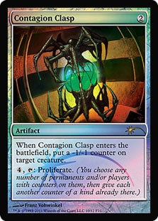 1x Contagion Clasp • FNM Promotional Cards: Non-Release • Foil • MP Moderately Played • MTG